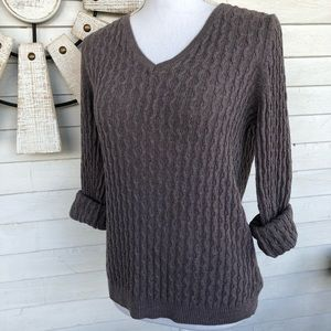 Sonoma Taupe Cable Knit V Neck Sweater